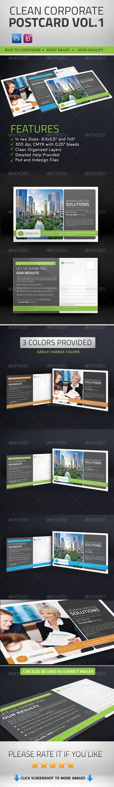 Buy Multipurpose Clean Corporate Postcard by pallabip on GraphicRiver. Multipurpose Clean Corporate Postcard and Direct Mailer =============================================================. Postcard Layout, Postcard Design, Psd Flyer Templates, Business Flyer Templates, Print Templates, Graphic Design Tips, Tool Design, Print Design, Direct Mail Design