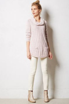Cabled Cowl Pullover - anthropologie.com//very chic, casual and stylish look.  love everything about it. if anything i would just add a touch of a gold cuff or ring