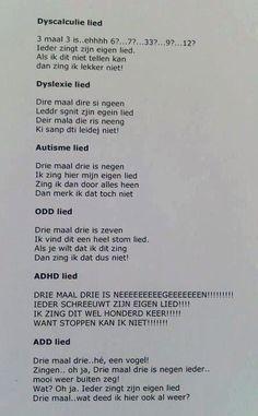 Ieder zingt zijn eigen lied..dyslexie, autisme,  ADHA, ODD...