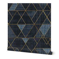 Ivy Bronx Clarkson Geometric Removable Peel and Stick Wallpaper Panel Color: Navy/Blue, Size: L x W Navy Wallpaper, Wallpaper Panels, Prepasted Wallpaper, Perfect Wallpaper, Self Adhesive Wallpaper, Custom Wallpaper, Peel And Stick Wallpaper, Bathroom Wallpaper, Peelable Wallpaper