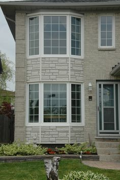 Bay Windows- White with White Colonial Grid Pattern #window