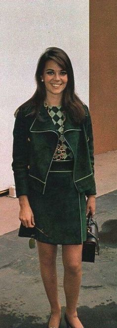 Natalie in a #green skirt with matching jacket