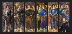 Edward Burne-Jones [British Pre-Raphaelite Painter, ~ Days of Creations Angels In the Days of Creation, each day shows a corresponding number of angels, each angel holding a globe that correspond to the events of that. John Everett Millais, Edward Burne Jones, Days Of Creation, Art Articles, Black Vase, Pre Raphaelite, William Morris, Jenny Morris, Arts And Crafts Movement