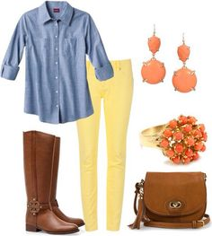 Spring fashion - love the idea of a chambray shirt with soft yellow pants and coral jewelry - don't prefer these boots with this outfit though