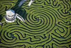 The most well-known full-size maze is the topiary, or hedge maze. The earliest references to topiary mazes date back to the 13th century in Belgium. By the 16th century the hedge maze had spread to England. In the latter part of the 17th century, King Louis XIV had a labyrinth constructed as a part of the gardens at Versailles, France.