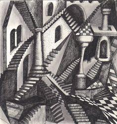 modesto homenaje a Escher Art Optical, Optical Illusions, Surreal Artwork, Mc Escher, Man On The Moon, Weird World, Geometric Designs, Surrealism, Illustration Art