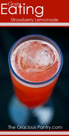 Fresh, Homemade Strawberry Lemonade. #CleanEating