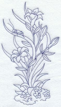 Flowers and Grasshopper (Bluework)