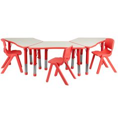 Flash Furniture 14.5 23.5 Inch Height Adjustable Preschool Activity Table/  Chairs
