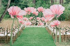 Giant Paper Flowers for Wedding Ideas - Magz Wedding - Magz WeddingGiant paper flower and pedals-aisle decorOversized poppies line the aisle and ceremony backdrop ~ we ❤ this…Unexpected and unique floral design inspiration for spring weddings, fr Wedding Ceremony Ideas, Ceremony Backdrop, Ceremony Decorations, Backdrop Event, Garden Wedding, Diy Wedding, Dream Wedding, Fantasy Wedding, Wedding Cake