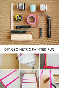 DIY Geometric Painted Woven Rug tutorial - it's easy and really pretty!