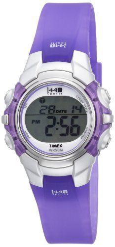 Timex Women's T5K459 1440 Sports Digital Silver-Tone Case Translucent Purple Resin Strap Watch Timex,