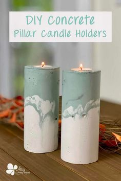 Learn how to make DIY concrete pillar candle holders with the step by step detailed tutorial. Color them sage green to go with your DIY fall decorations. #artsyprettyplants #DIYfalldecor #DIYcement #concretecrafts #fall #DIYhomedecor Concrete Candle Holders, Tall Candle Holders, Diy Candles, Pillar Candles, Homemade Candles, Scented Candles, Candle Jars, Concrete Crafts, Easy Diy Gifts