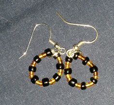 Simple Black and Gold Bead hoops by PleinDesign on Etsy