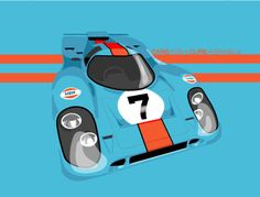 Racer 917- Mason Watson's original Gulf Racing Porsche 917 illustration for Cars for a Cure T-Shirt. 20% of proceeds from each sale go directly to The Breast Cancer Research Foundation®. #CarsforaCure #MasonWatson