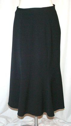 Giorgio Armani Black Label Black Wool Blend Flared Midi Skirt