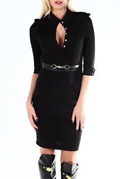 Demi Black Shirt Dress