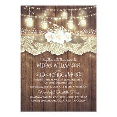 Mason Jar Wedding Invitations Lights Mason Jars Lace Wood Rustic Barn Wedding Card