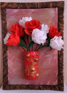 Панно к 8 марта. пейп арт, цветы из гофрированной бумаги