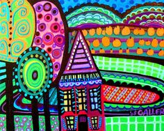 hundertwasser    flat paintings? sculpture cardboard towns ?@!!
