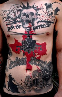 Realistic Trash Polka Tattoo by Volko Merschky & Simone Pfaff, Buena Vista Tattoo Club, Germany