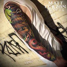 The Kraken by Matt Curzon - Empire - Melbourne, Australia : tattoos Neo Traditional Pirate Tattoo, Traditional Tattoo Flowers, Traditional Sleeve, Traditional Ink, Traditional Tattoos, Clock Tattoo Sleeve, Nautical Tattoo Sleeve, Sleeve Tattoos, Arm Tattoos