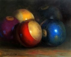 Pocket Billiards -Eight Pool Balls 16 20 in.Original Oil on canvas, painting by artist Hall Groat II
