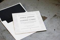 custom-curvy letterpress wedding invitation by Bella Figura