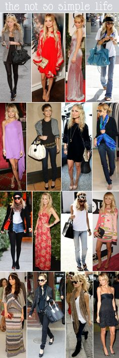 Nicole Richie style... boho glam...A couple outfits are a no, but I like most of them