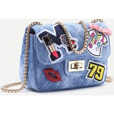 SheIn(sheinside) Blue Denim Catoon Patch Mini Quilted Chain Bag ($26) ❤ liked on Polyvore featuring bags, handbags, shoulder bags, quilted chain shoulder bag, denim handbags, blue shoulder bag, quilted chain handbag and quilted shoulder bag