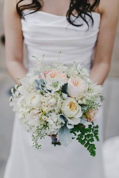 https://www.facebook.com/ablissfulsoiree  My lovely bouquet! Made my the talented Hannah Koo from Milieu Florals. Chrystal and Tim's wedding. Photo by William Kim Photography #bridalbouquet #romantic #blush #bouquet