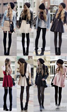Black tights & skirts for fall - I WOULD WEAR EVERY ONE OF THESE OUTFITS (and have definitely worn MANY similar ones, lolz) - black tights are totally a short girl with skinny legs' best friend! <3 <3 <3