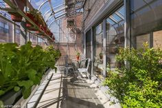 A green house with a greenhouse