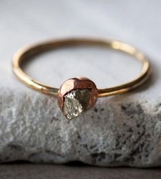 Pyrite, Copper  Brass Ring