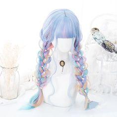 Products – Page 15 – FairytaleCreators Kawaii Hairstyles, Pretty Hairstyles, Wig Hairstyles, Cosplay Hair, Cosplay Wigs, Pastel Wig, Kawaii Wigs, Rainbow Wig, Pelo Anime