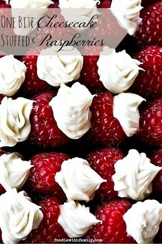 One Bite Cheesecake Stuffed Rasperries with Chambord foodiewithfamily.com #cheesecake #Dessert