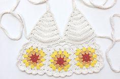 Granny Square Flower Halter  Hand Crochet Cotton by noelebell,