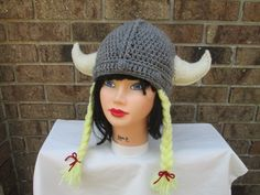 Viking horn hat. Knitted beanie with horns and braids- great gift for Her birthday This Knitted hat is Wonderful Christmas gift for her ,fun Valentine day gift,or for Halloween.  If you want to be the center of attention - this hat is for you :)))  This sale for the hat only. You can have a lot of fun with this cute accessory !!! A very warm womens beanie  Knit beanie hat with an attached knit horns and braids.crocheted hats.crochet women.accessories hair  It is made from soft 100% acrylic…