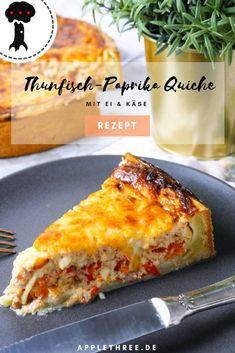 Rezept fpr Thunfisch-Paprika Quiche mit Ei und Käse vom Foodblog Applethree. #quiche #quicherezept #thunfisch #rezepte