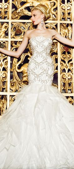 I would love this with a sweetheart neckline just remove the middle scallop shape  Yumi Katsura Bridal Couture