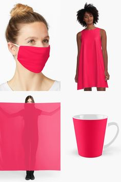 Electric Crimson - a Shade of Pink Red.  Electric Crimson - a shade of Pink Red. One solid plain colour (color) if you prefer not to have a pattern. Match your mask with your t shirt or home decor products.  #crimson #red #pink #masks #giftideas #fashion #homedecor #artsandcrafts #stickers #redbubblestickers #redbubble #art #redbubbleshop #ad @giftsbyminuet Red Mask, Red Bubble Stickers, Chiffon Tops, Masks, Electric, Arts And Crafts, Shades, Shirt Dress, Colour