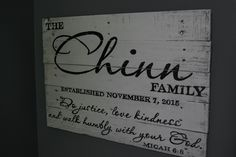 """Our Micah 6:8 family sign measures approximately 28""""X20"""" and is available in several wood finishes and text colors. Please make your choice using the drop down menu above.   OGDS pieces come ready to hang with hardware attached as well as a """"no tool required"""" hanging hook. They are also beautif..."""