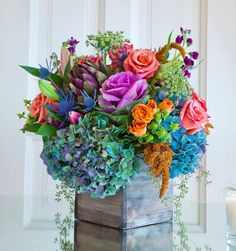 Love this box arrangement with, kale,,hydrangea,spray roses , berry's , ect... . great color combo . from Dily Lily Florist / Chicago