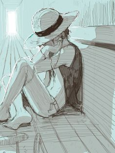 Luffy -- I like how unassuming he looks right here, no one would expect this scrawny kid in a beat up straw hat, simple clothes, and basic sandals to be who he is, Captain of the Strawhat Pirate crew and future Pirate King