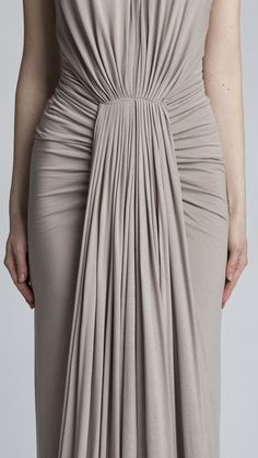Draped dress with micro pleats & ruched sides; sewing; fabric manipulation; draping; fashion design detail // Rick Owens