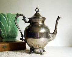 Vintage Teapot, Silver Plate, Silverplate, Silver on Copper Holloware. $47,00, via Etsy.  so wondeful! I love teapots