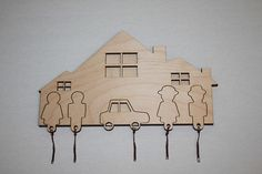 House She Her Key Rack Holder Wall car family CNC by projectCNC