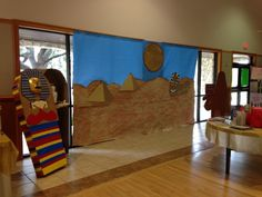 2013 Egyptian Book Fair Theme - completed pyramids for back drop at school with sarcophagus mummy and camel