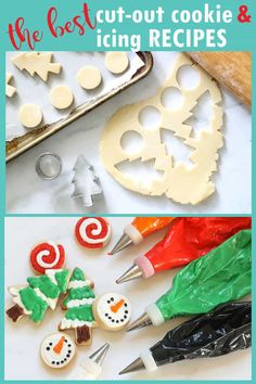 DECORATED CHRISTMAS COOKIES Make decorated Christmas cookies with these perfect, no-fail, cut-out cookie and royal icing recipes. Make-ahead and freezing how-tos. Cookie decorating instructions, PRINTABLE RECIPES, Videos. #christmascookies #bestcookierecipe #cutoutcookies #royalicing #cookiedecorating #sugarcookies