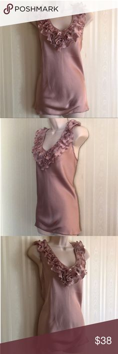 SPENSE light purple ruffled neck top NEVER WORN 100% polyester.  Silky and sexy.  Perfect for work under a jacket, or date night.  Never worn, but has been washed.  In excellent condition. Spense Tops Blouses